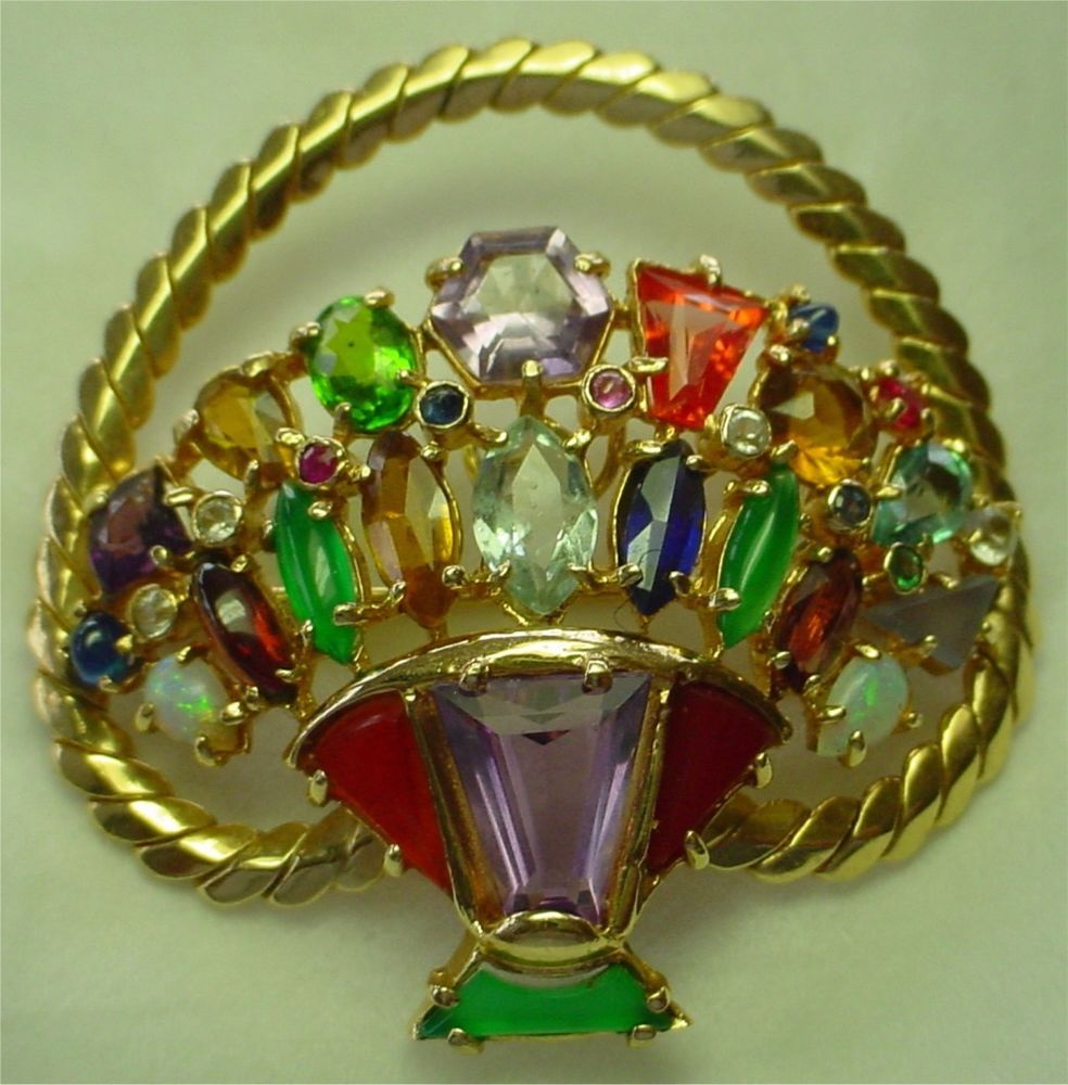 14 KT Y/ GOLD BROOCH OR PENDANT ~ BASKET OF FLOWERS ~ SET WITH COLORED STONES