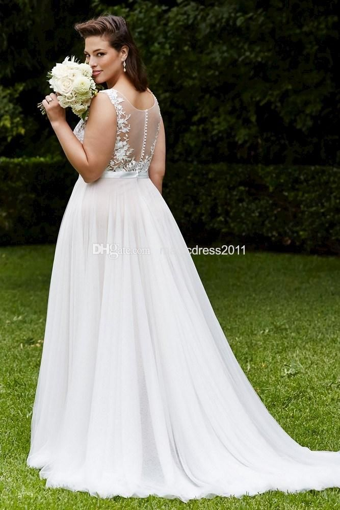 Wholesale Elegant Plus size Lace Wedding Dresses Vintage Beach ...