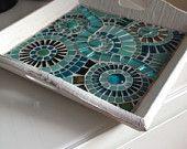 homedecoration season cmosaic white tray, mosaic circles teal, glass mosaic whitewash teal tray
