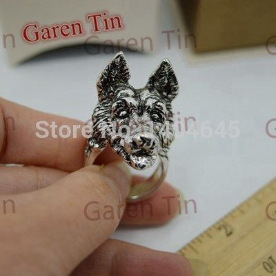 1 Pcs Unique Men's Jewelry Big German Shepherd Dog Ring Handmade Finger Collar Art Design Rings For Men
