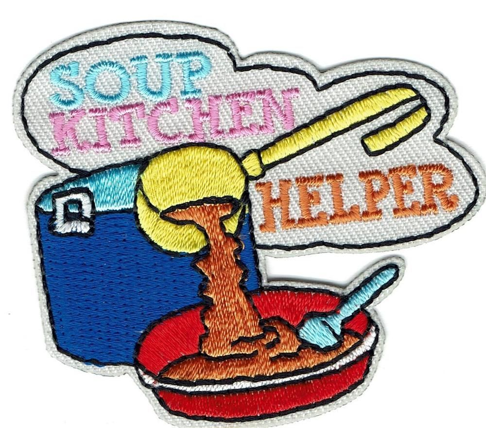 SOUP KITCHEN VOLUNTEER. Some of the patches may be