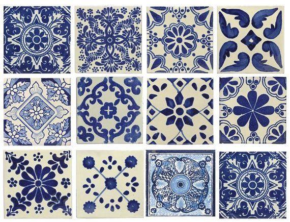 Blue White Mixed Styles 4x4 Mexican Spanish Decorative Ceramic Talavera Tiles