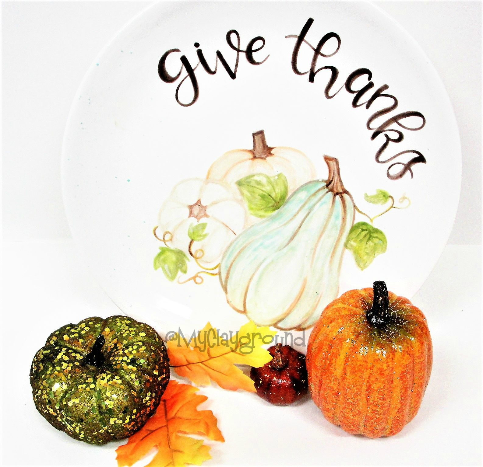 Pottery Painting Thanksgiving Give Thanks Plate