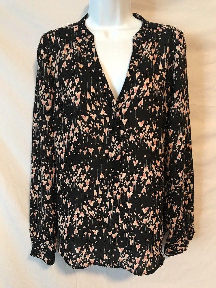 718ad057 Lauren Conrad Women Medium Black Pink Ivory Heart Pattern Sheer Shirt Top |  eBay