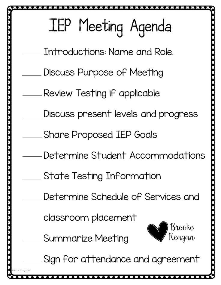 Special Education Meeting Agenda Organizing, Special education