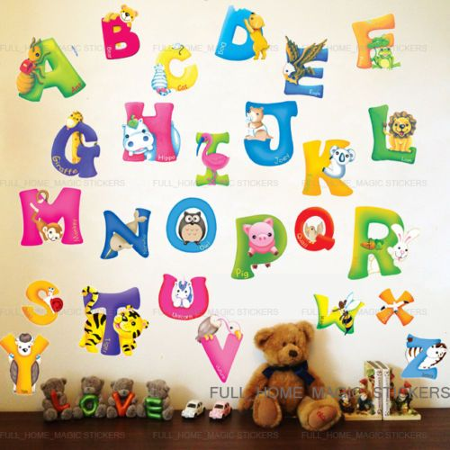 Amazing Details About LARGE Animal ALPHABET/LETTER Wall Stickers Nursery Early  Learning Baby Kid Decor