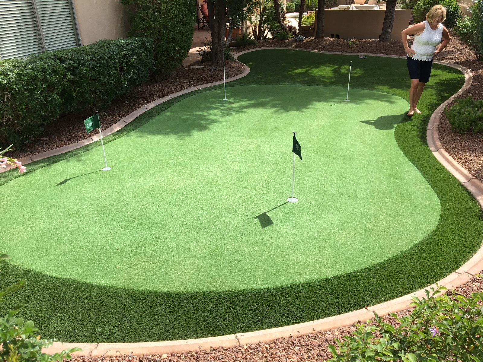 Custom Artificial Turf Putting Green Free Estimates Www Paradisegreens Com Artificial Turf Backyard Artificial Grass Installation Artificial Turf