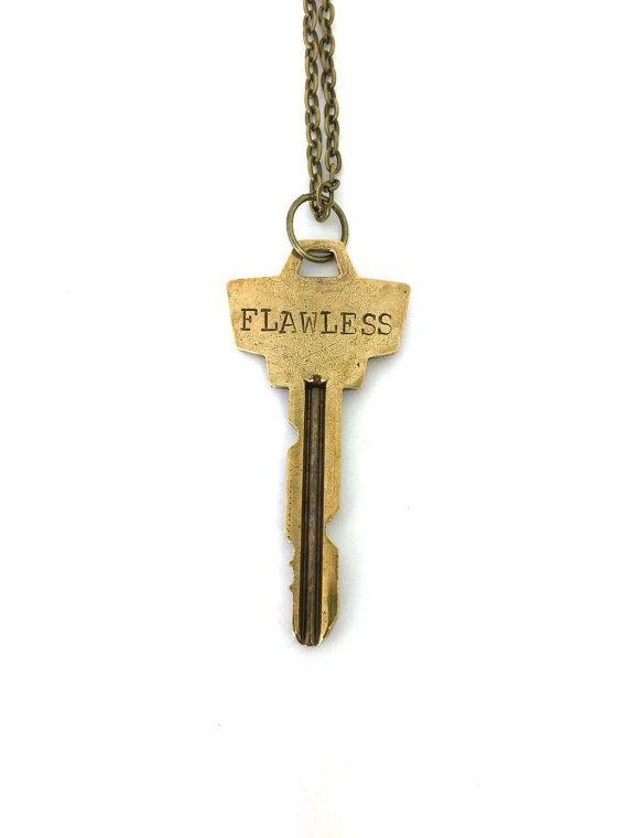 Personalized key necklace, custom jewelry, key jewelry, retro, gift idea for her, hand stamped necklace, beyonce flawless  A vintage key is hand