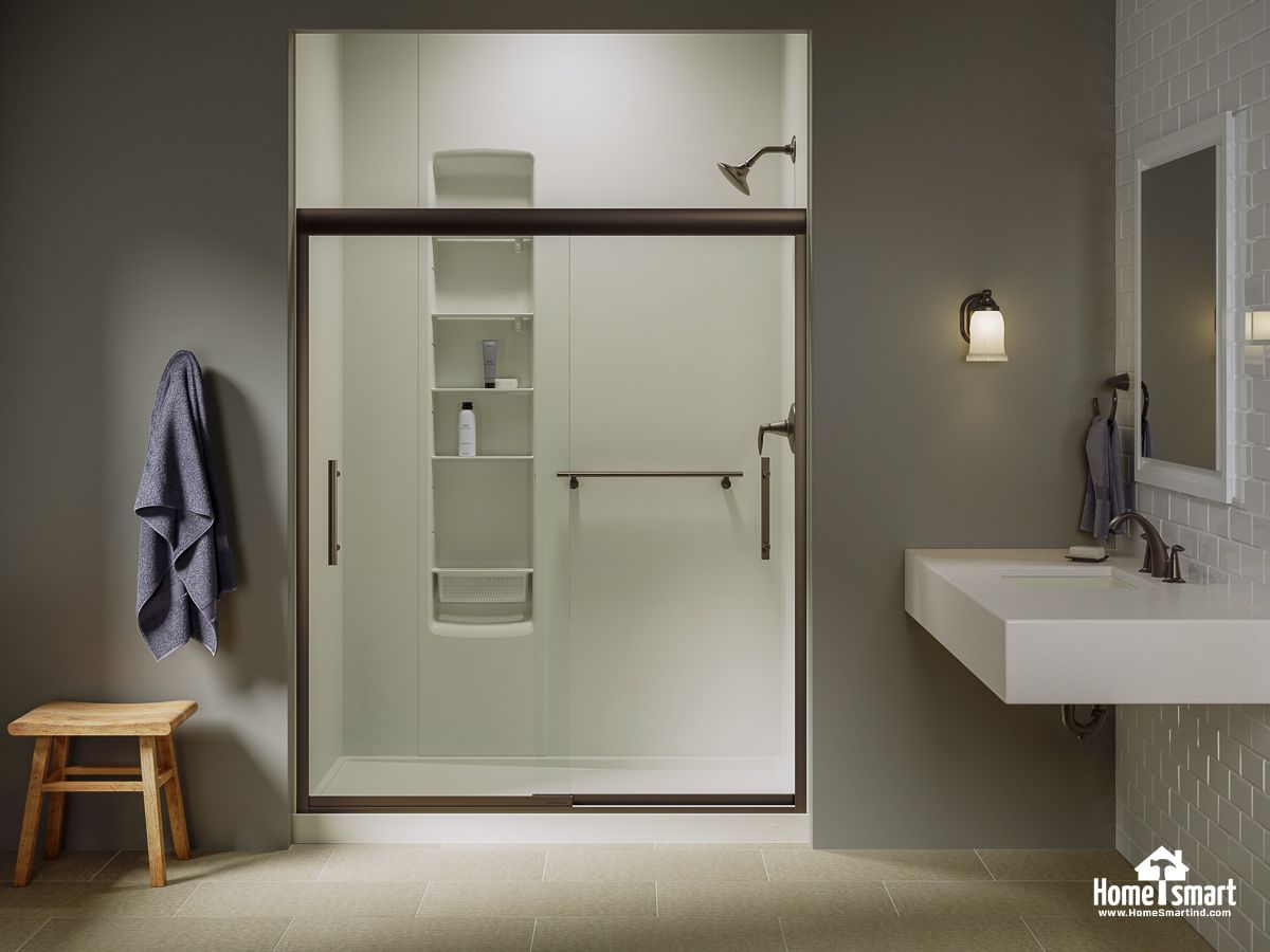This crushed stone white Kohler shower has an elegant shower ...