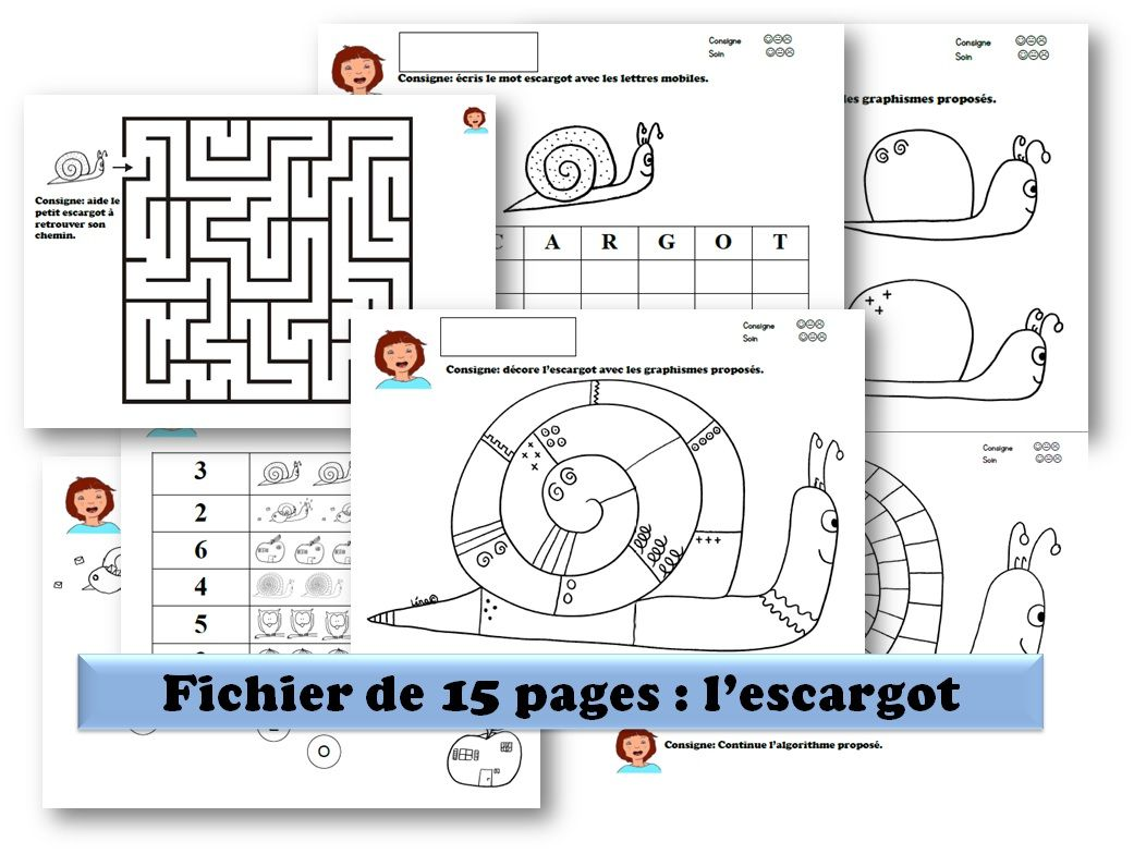 Populaire LE THEME L'escargot : fichier de 15 pages avec pleins d'activités  KA35