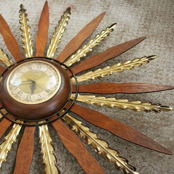 Vintage 60s United Starburst Wood And Metal Wall Clock