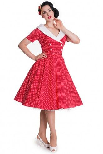 Vintage Kleding.Hell Bunny 50s Claudia Dress Red Jurken Retro En Vintage Kleding