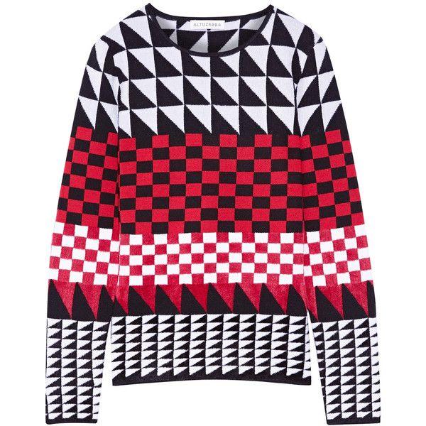 Altuzarra Shiner paneled jacquard-knit sweater (£720) via Polyvore featuring tops, sweaters, crimson, loose sweater, print sweater, loose knit top, jacquard sweaters and jacquard top