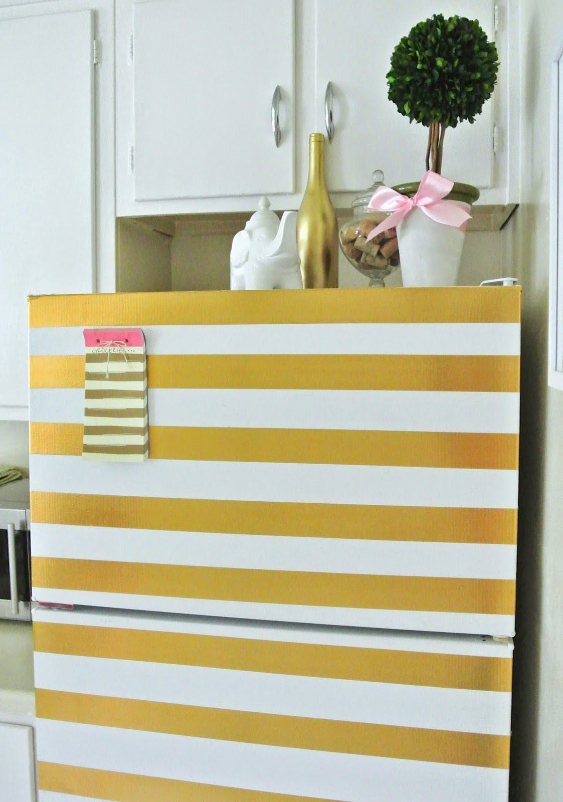 The Monogrammed Life: DIY Gold Striped Refrigerator | Decorating ...