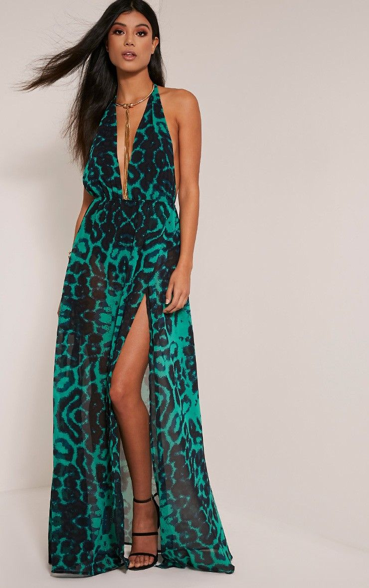 Alina Green Leopard Print Plunge Maxi Dress Image 1 | I would wear ...