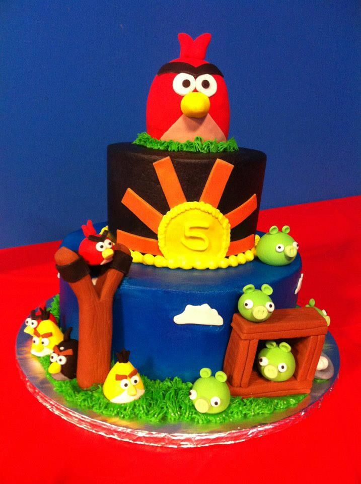 Angry Birds tiered cake by Sweeten Up Bake Shop Austin Cedar Park