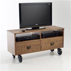 Meuble tv pin 2 tiroirs roulettes hiba petit espace - Meuble tv petit espace ...