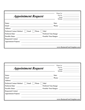Printed With Two Per Page This Appointment Request Card Helps New