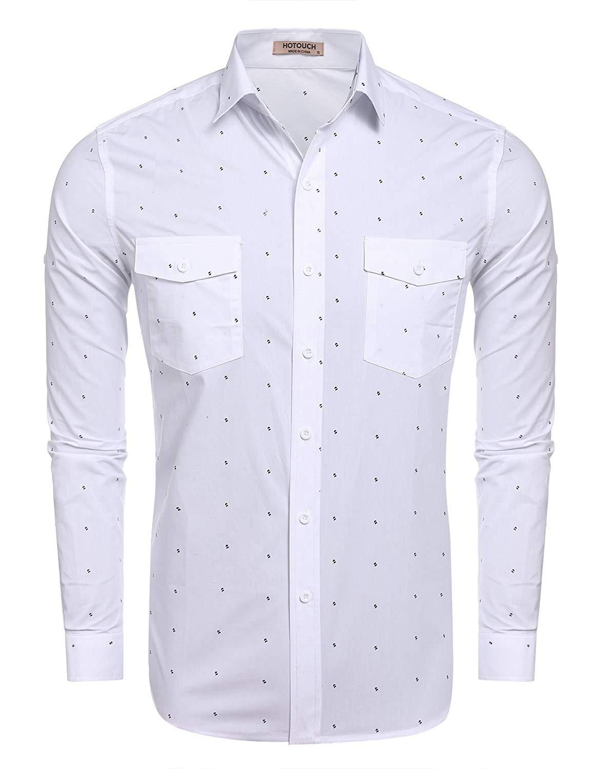 3e69013b1 Hotouch Men's Fashion Button Up Shirt Slim Fit Contrast Long Sleeve Casual  Button Down Shirts