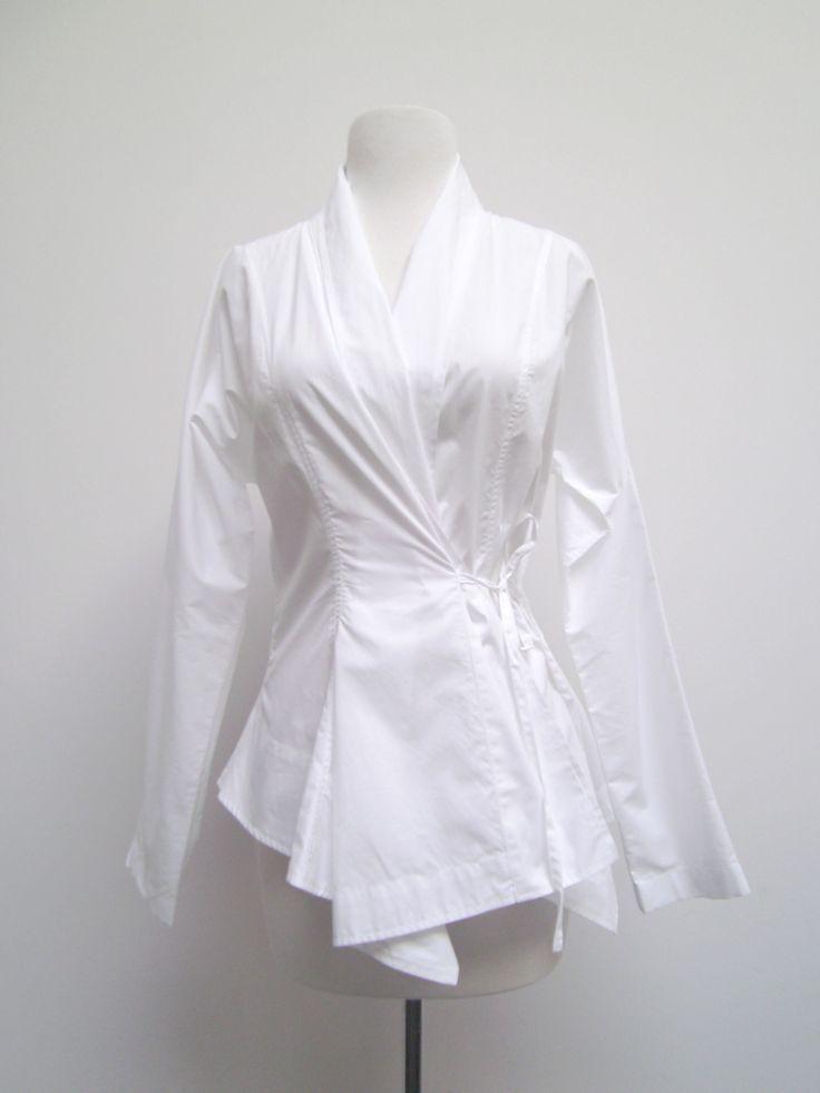 Wrap shirt white dress