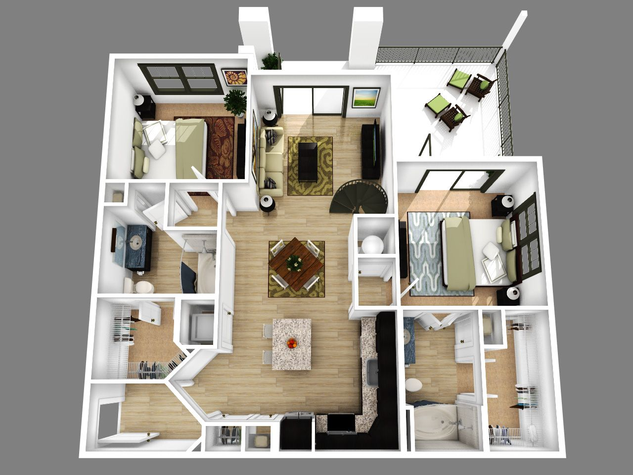 2 Bedroom Apartment Floor Plans 3D Amazing Decoration ...