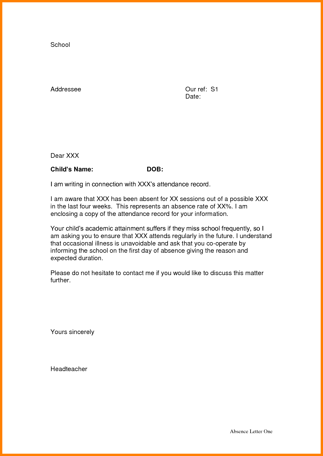3 absence letter from school appeal leter | Application
