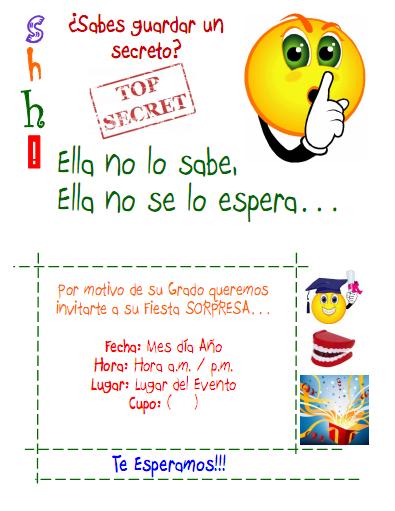 Tarjeta Invitación Fiesta Sorpresa Tipos De Letra Boopee