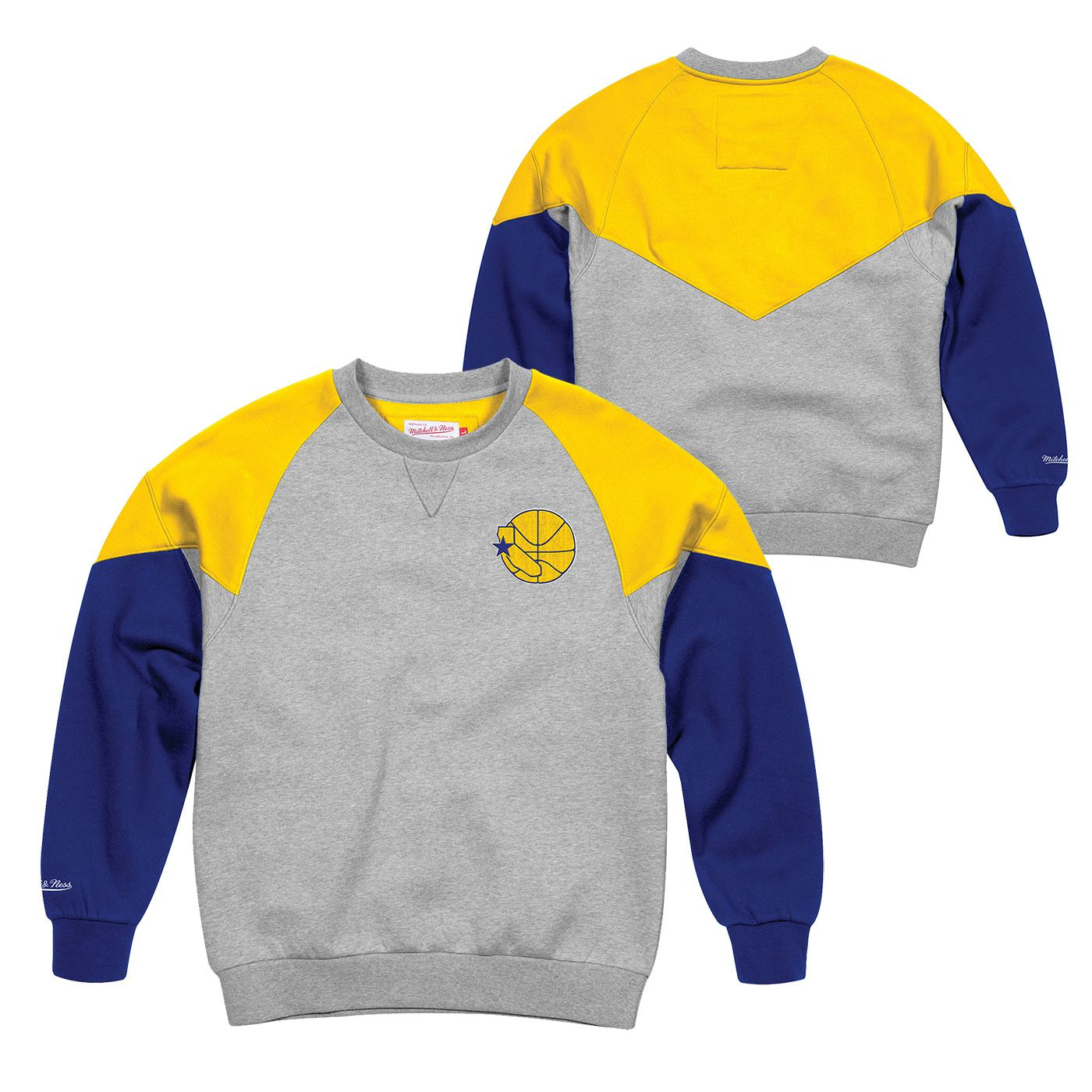 56002ce2 Golden State Warriors Mitchell & Ness Men's Hardwood Classic Trading Block  Crew - Grey/Gold/Royal - Golden State Warriors - Official Online Store