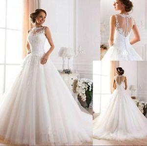 New Weiss Elfenbein Hochzeitskleid Brautkleid Groesse 32 34 36 38 40
