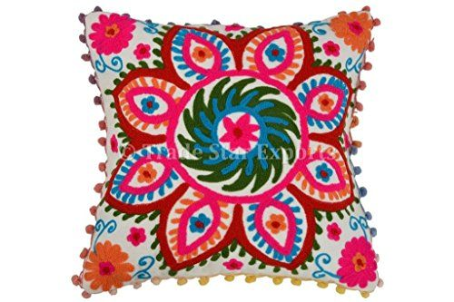 Pom Pom Pillow Cover Suzani Pillows 16x16 Outdoor Cushi Https Smile Amazon Com Dp B00 Embroidered Throw Pillows Outdoor Cushion Covers Throw Pillow Sham