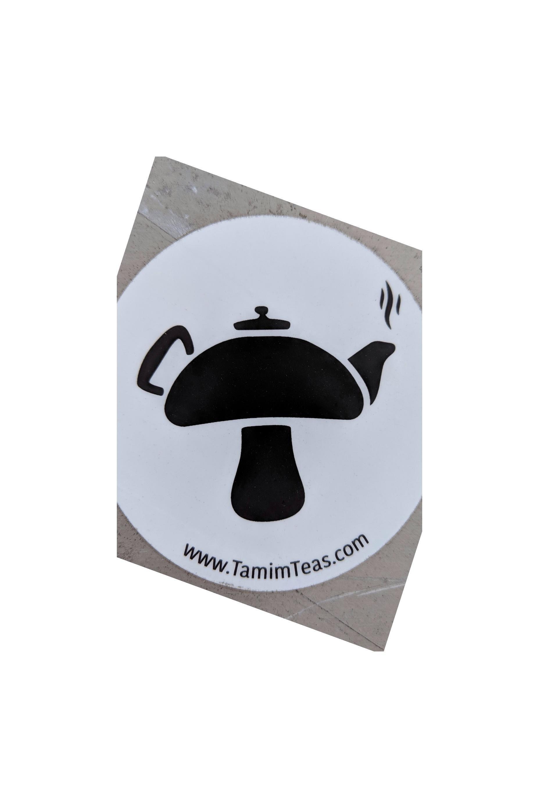 Mushroom tea brand logo (seen as sticker)... Desain