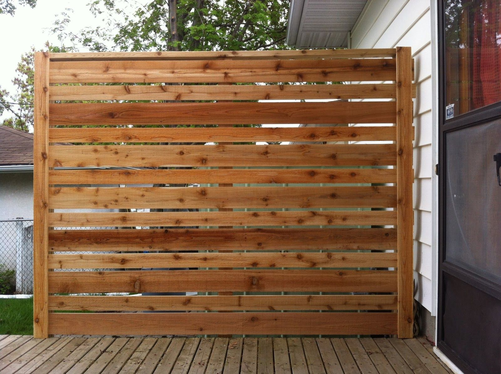 Privacy screen for chain link fence sears - Cedar Privacy Screens Cedar Deck Privacy Screen In Calgary