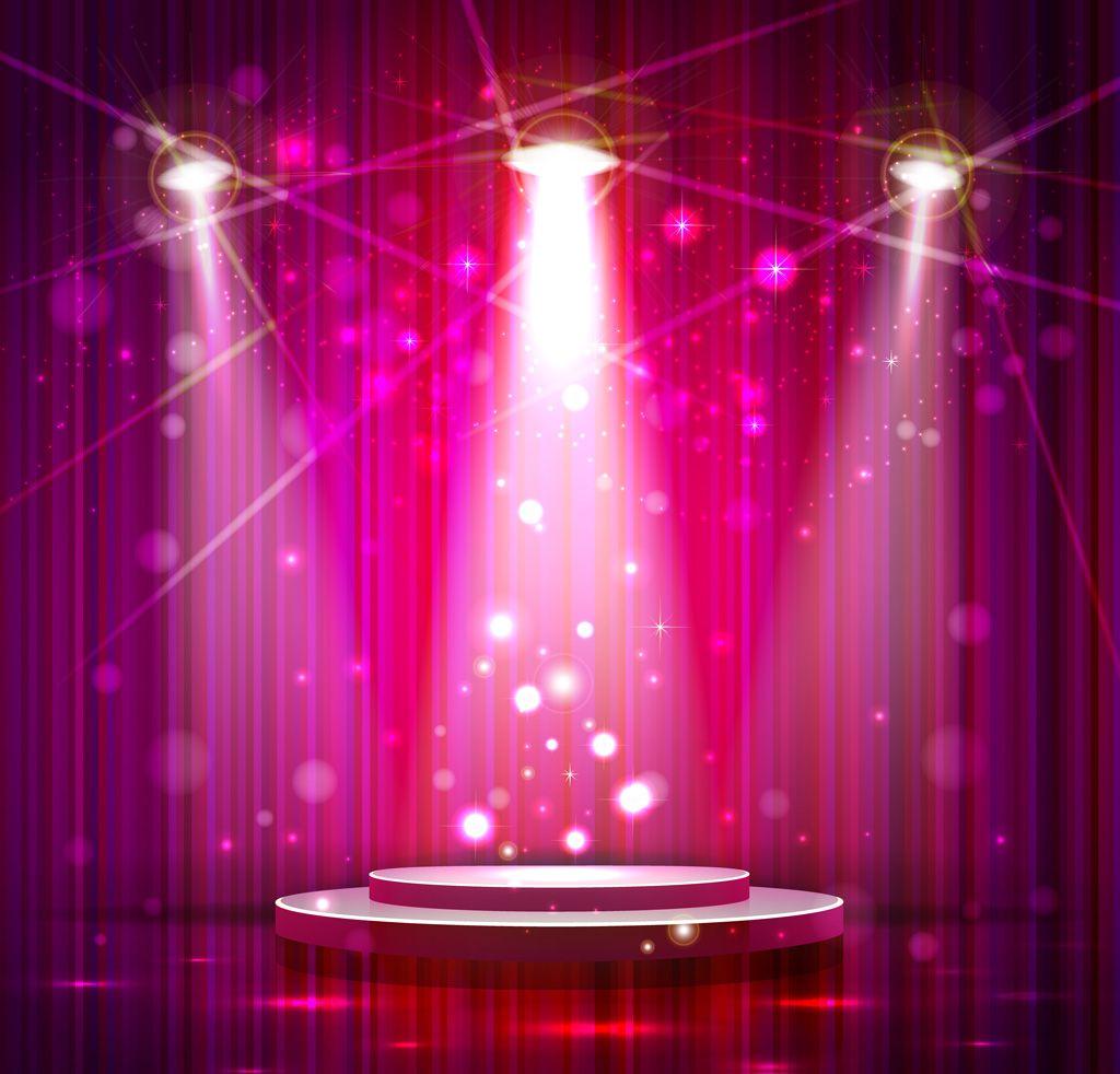 フリーイラスト素材 イラスト 舞台 ステージ 劇場 光 ライト