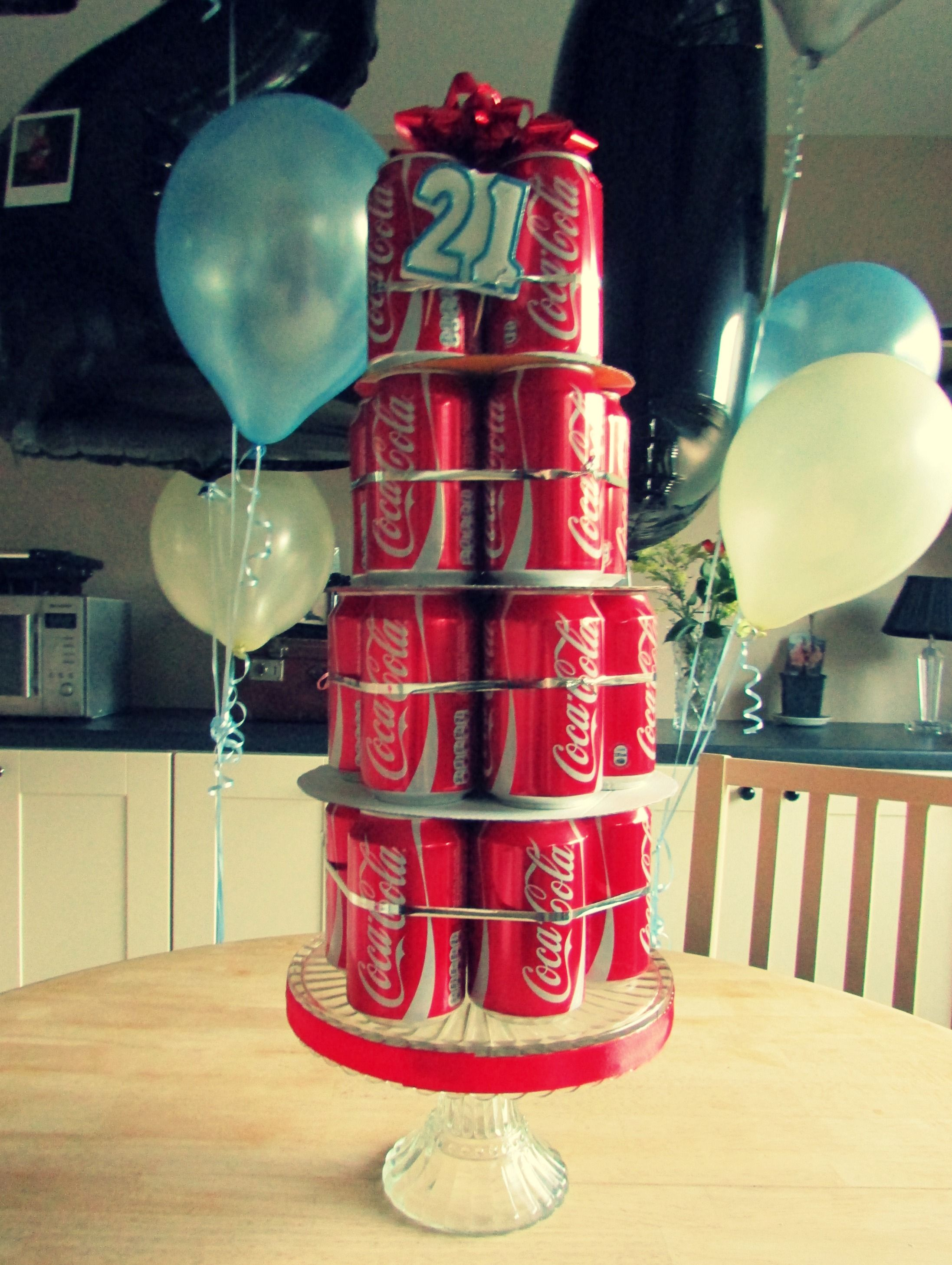 Real cans of coke made to look like a cake