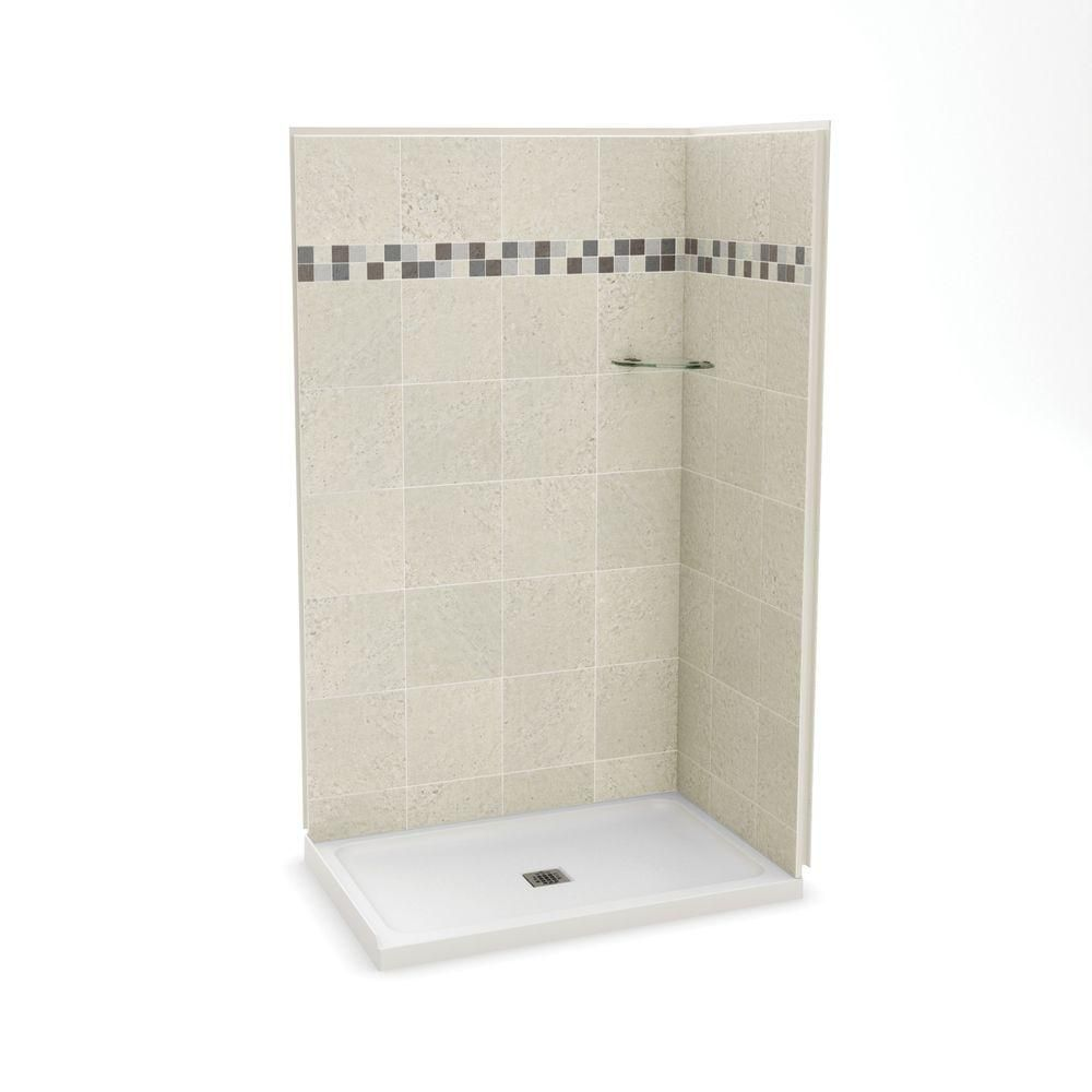 Utile By Maax Stone Sahara 32 In X 48 83 5 2 Piece Direct To Stud Corner Shower Kit With Base White