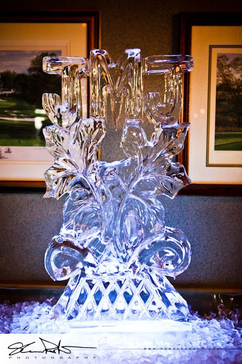 Ice sculpture using bride & groom\'s initials (they had same ...