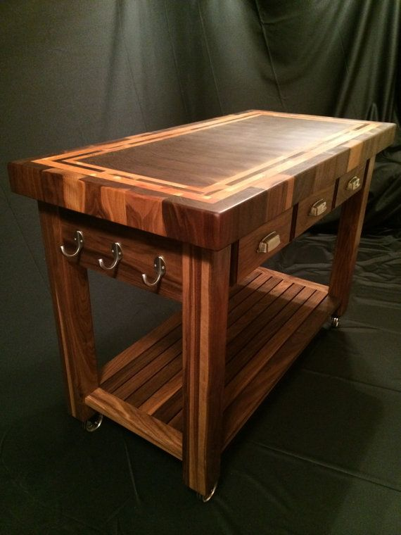 End Grain Butcher Block Kitchen Island : Custom Beautiful Black Walnut End Grain Butcher Block Kitchen Cart with American Cherry Accent ...