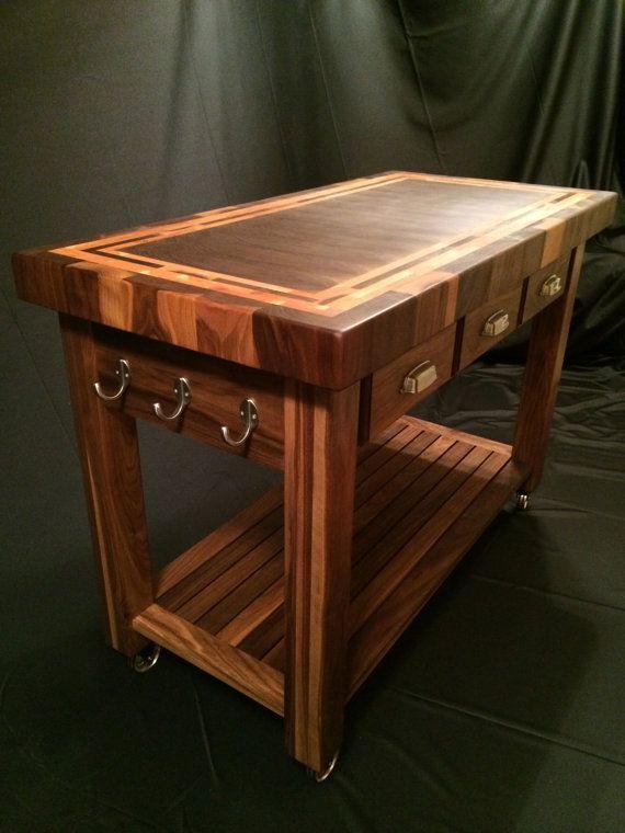 Custom Beautiful Black Walnut End Grain Butcher Block Kitchen Cart With  American Cherry Accent Frame