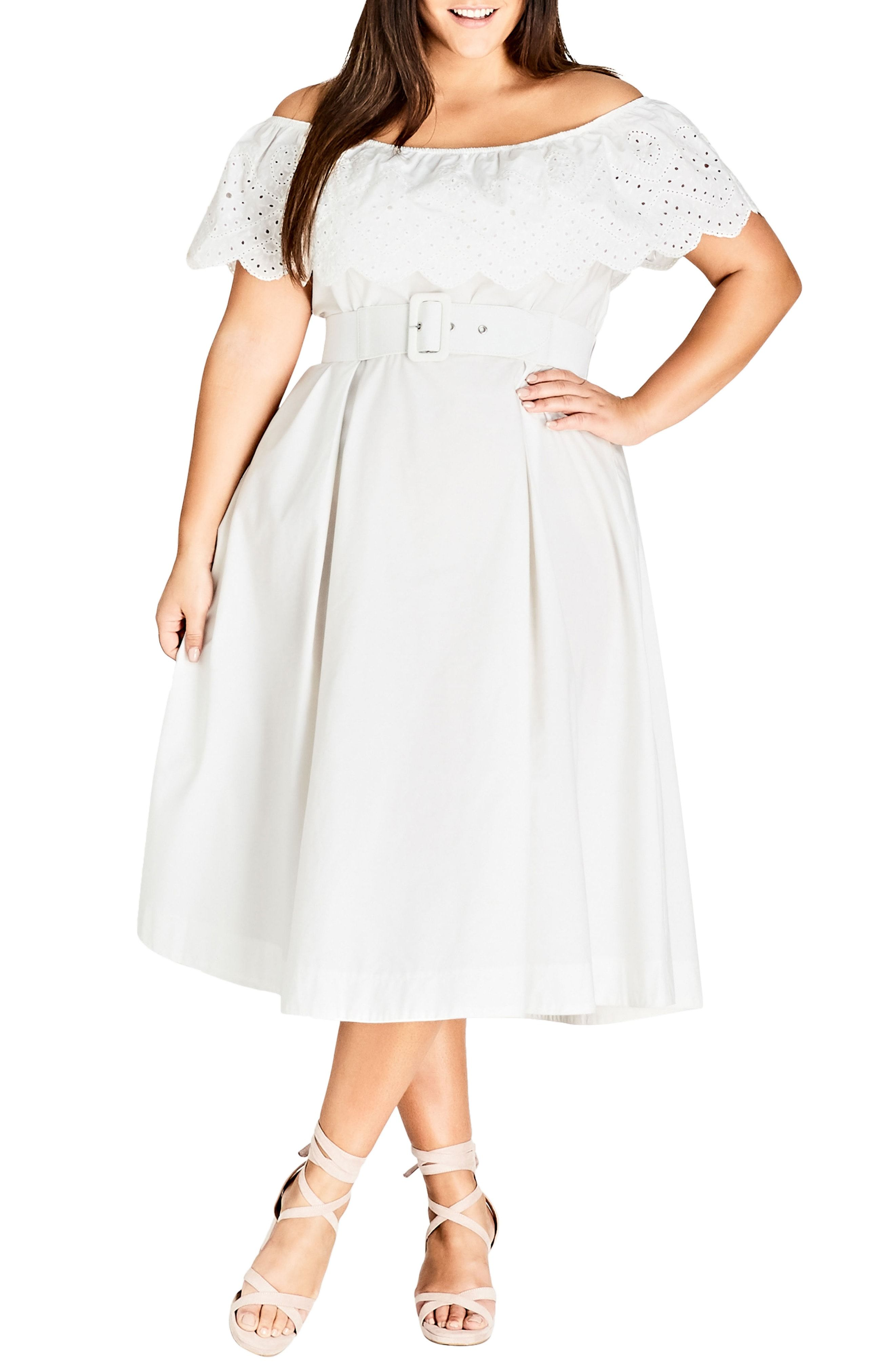cbf35b96e96a New City Chic Embroidered Off the Shoulder Fit amp  Flare Dress (Plus Size)  online.