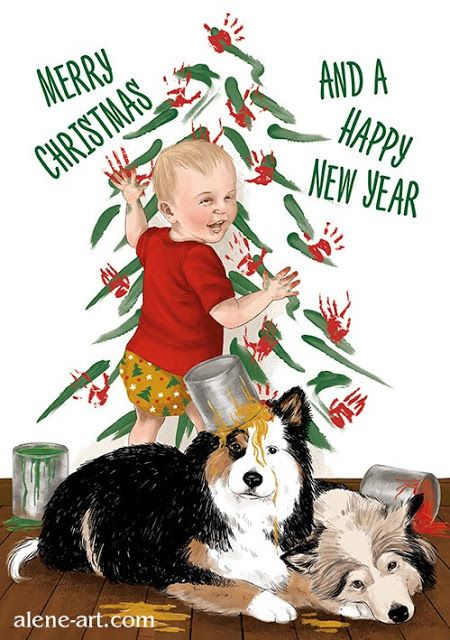 A custom Christmas card commission, featuring a family's son and finnish lapphunds getting up to some festive mischief.  #illustration #art #commission #customart #drawing #Christmascard #cute #Christmas