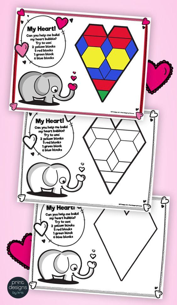 Pattern Block Puzzles • Math Shape Puzzles • February Winter Theme ...