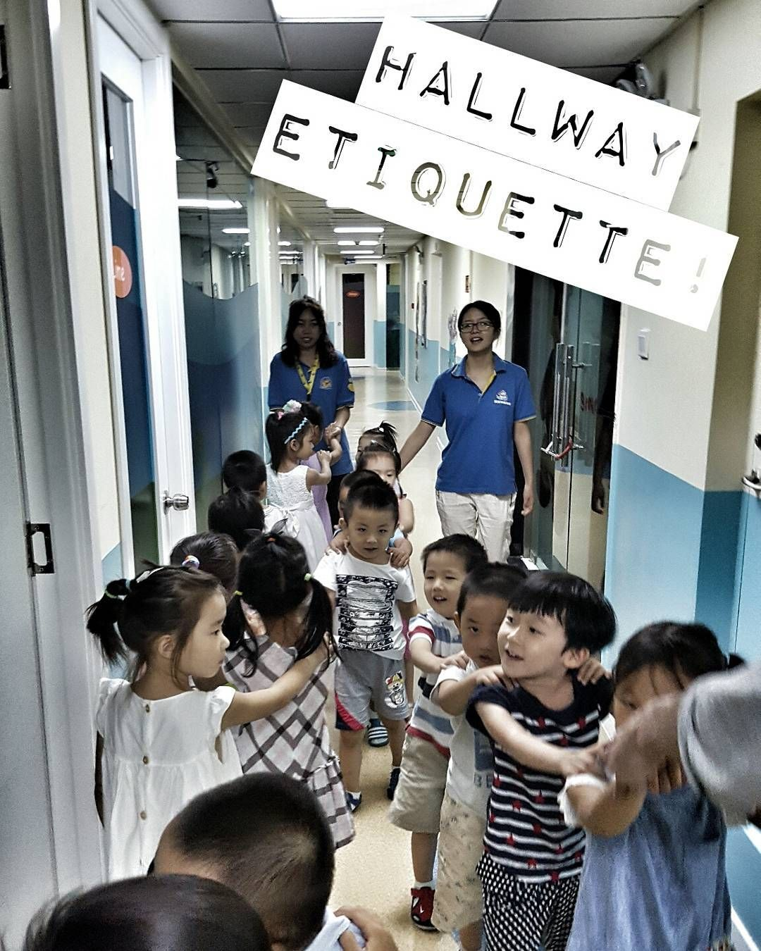 Here we are practicing a little bit of our hallway manners and etiquette. No punching the other class children... #hallway #lineup