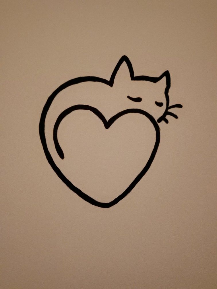 On The Wall Simple Heart Cat Painting Cute Drawings Of Love