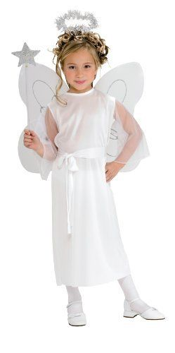 Haunted House Child's Angel Costume, Small by Rubies - Domestic. $11.99. From the Manufacturer                Delightful children's Angel costume with dress, waist sash and halo. Wings and wand sold separately.                                    Product Description                A great costume for your little angel, this Child Angel Girl is inexpensive and makes an adorable Halloween costume or a costume for use in a Sunday School or nativity play. The Child An...