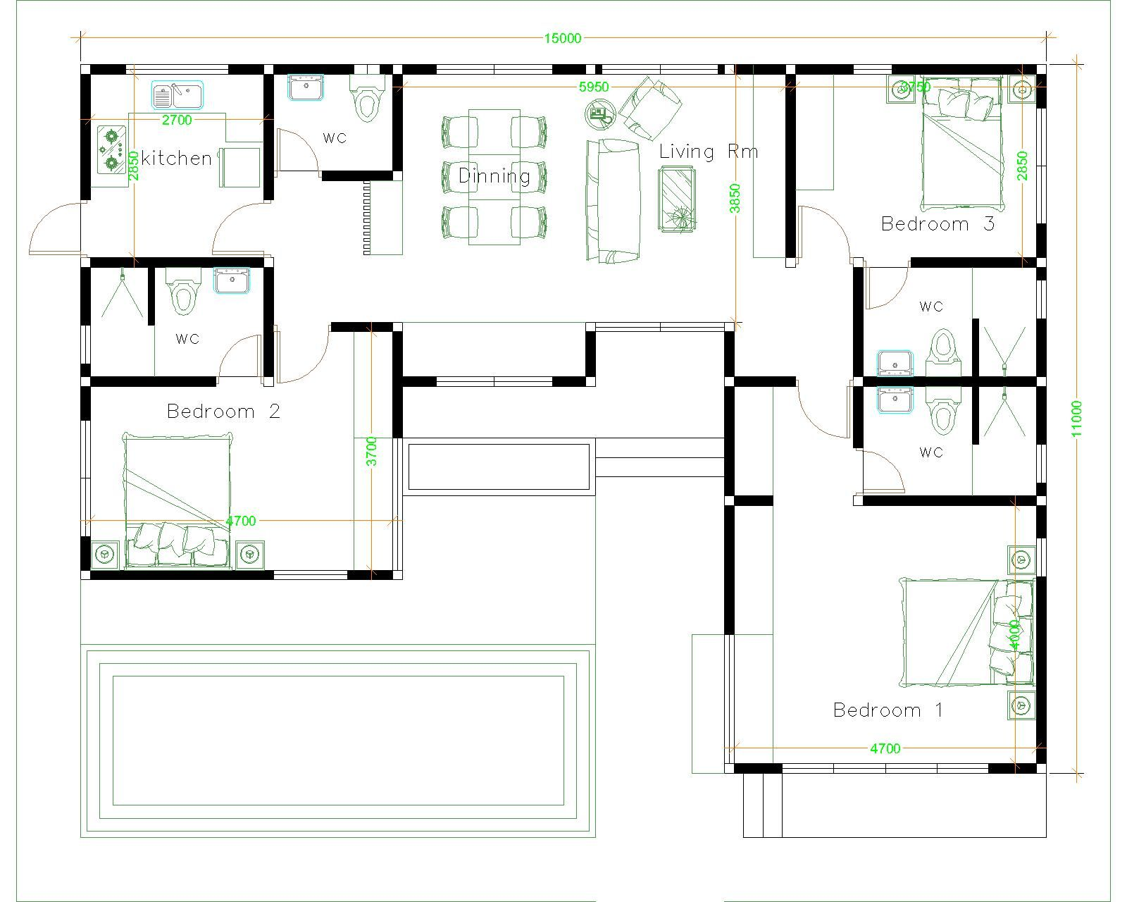 House Plans Idea 17x13 With 3 Bedrooms Slope Roof Sam House Plans In 2020 House Plans Architectural House Plans How To Plan