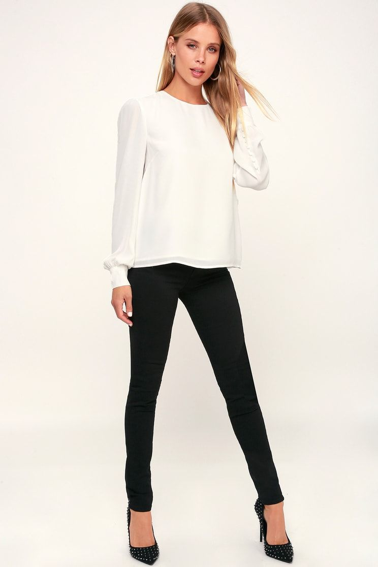 3311292ced3411 Lulus | Pleasure to Meet You White Long Sleeve Top | Size X-Large ...