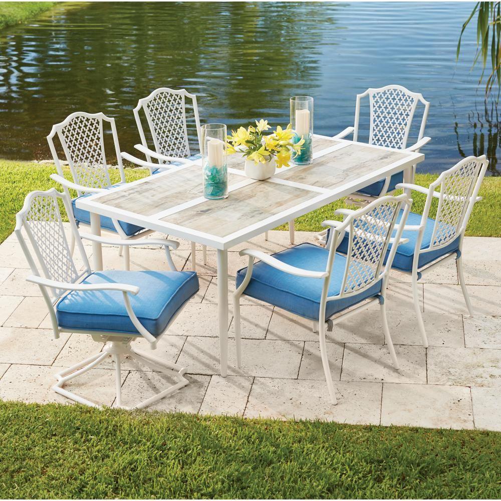 Hampton bay alveranda piece metal outdoor dining set with