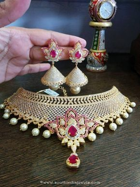 One Gram Gold Bridal Choker With Jhumka Bridal Choker Indian Wedding Jewelry Choker Necklace Designs