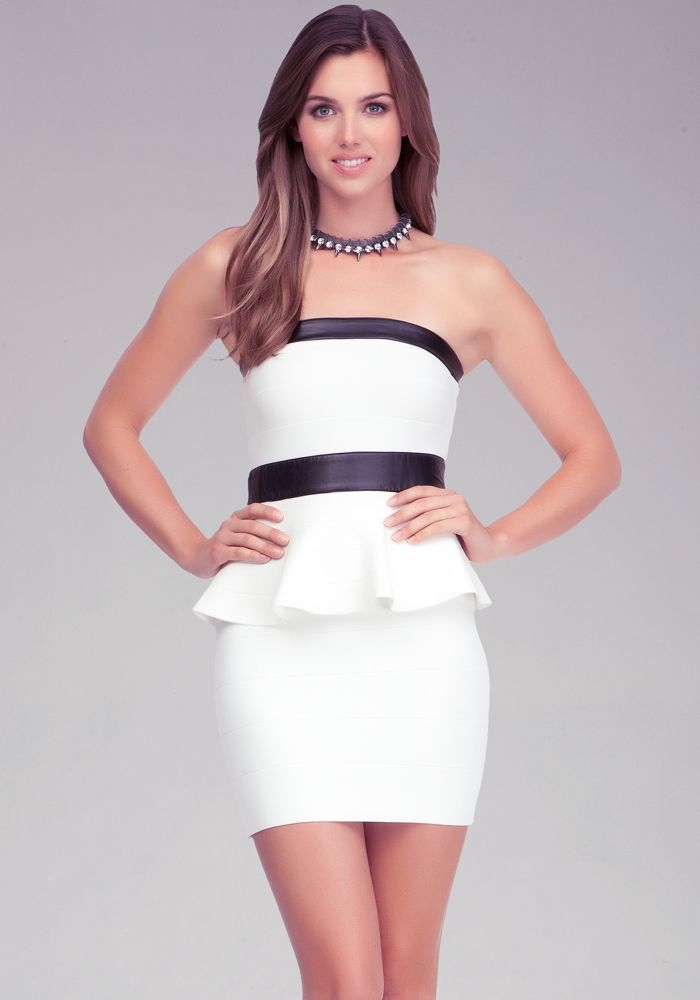 Bebe Peplum Bandage Dress Dresses Sweater