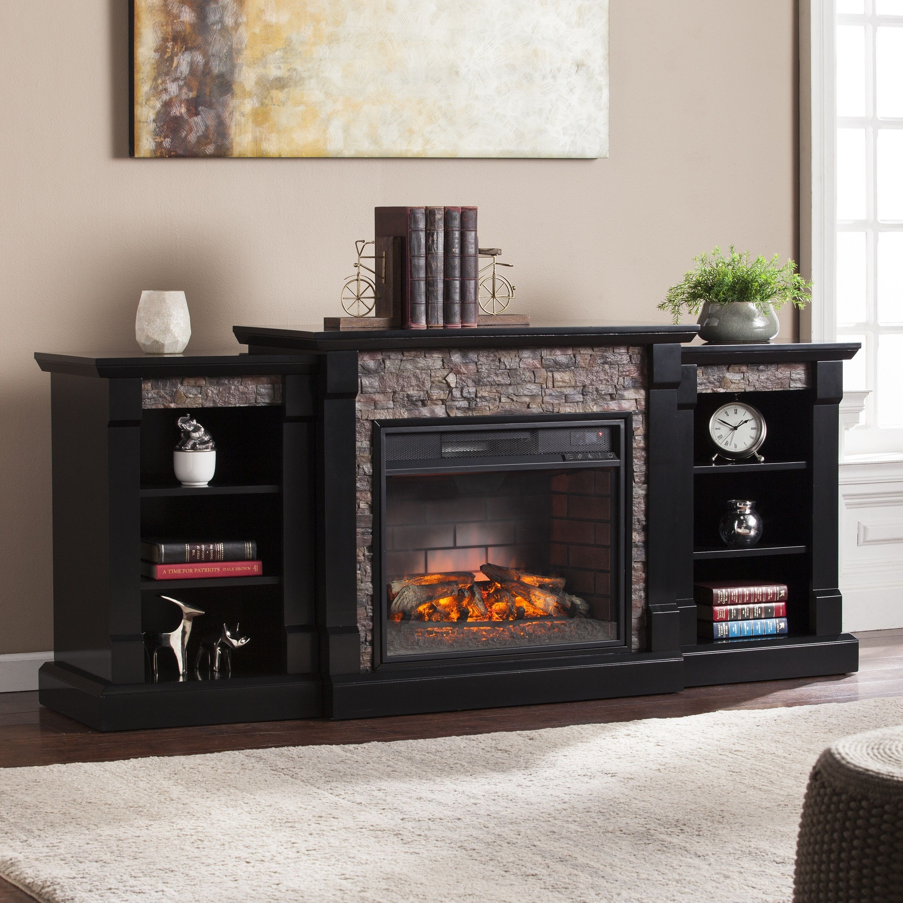 Stone Electric Fireplace Tv Stand Oliver James Lotto Black Faux Stone Infrared Electric Fireplace